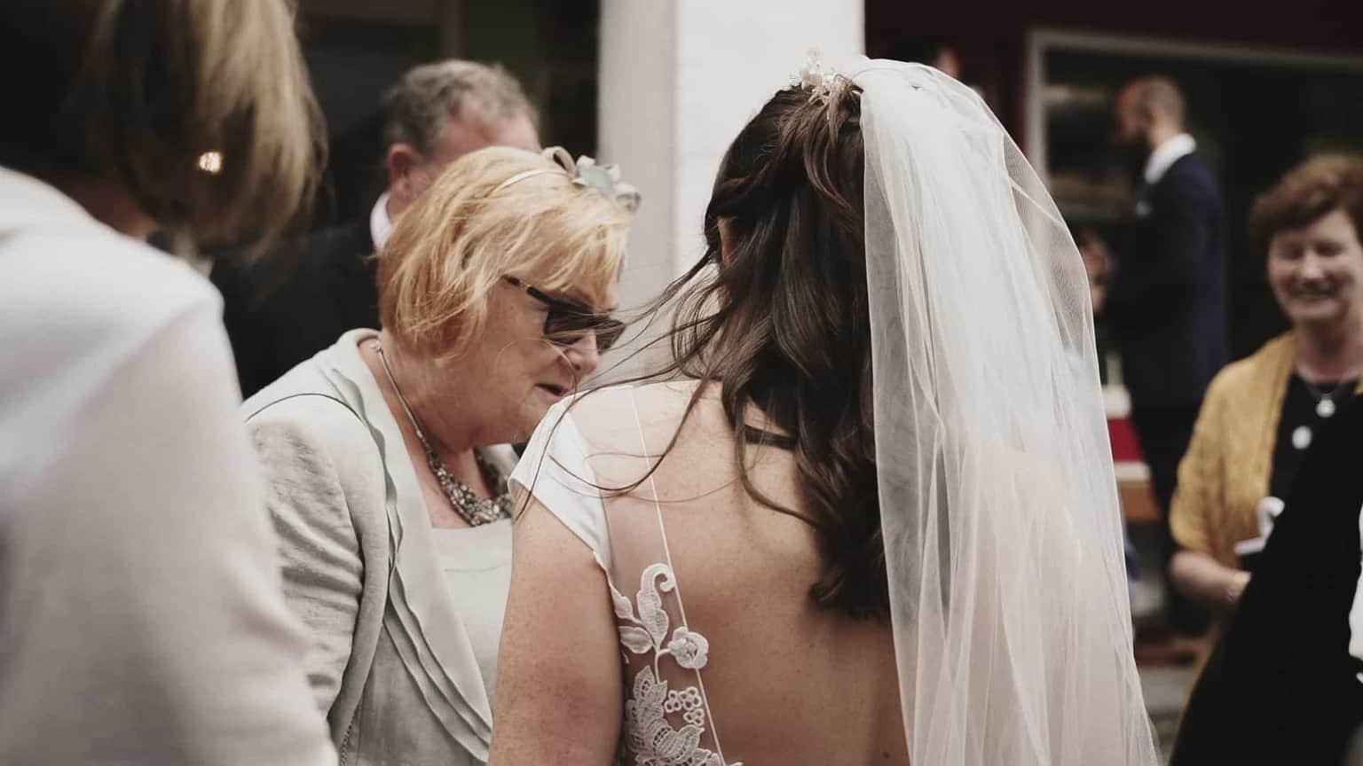 Bride integrate with her guest