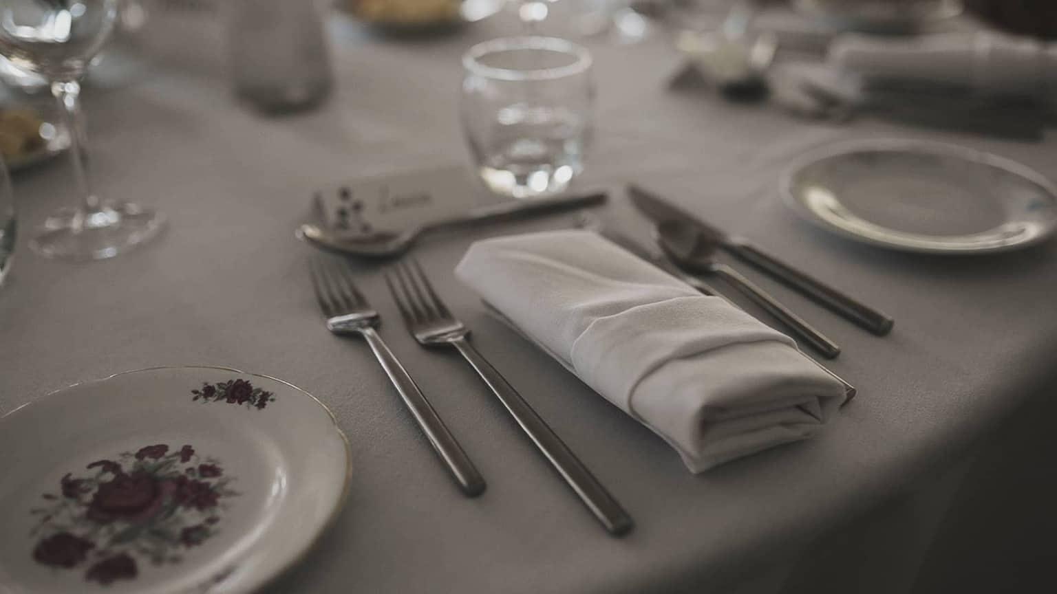 cutlery align straight on Ballintaggart house table