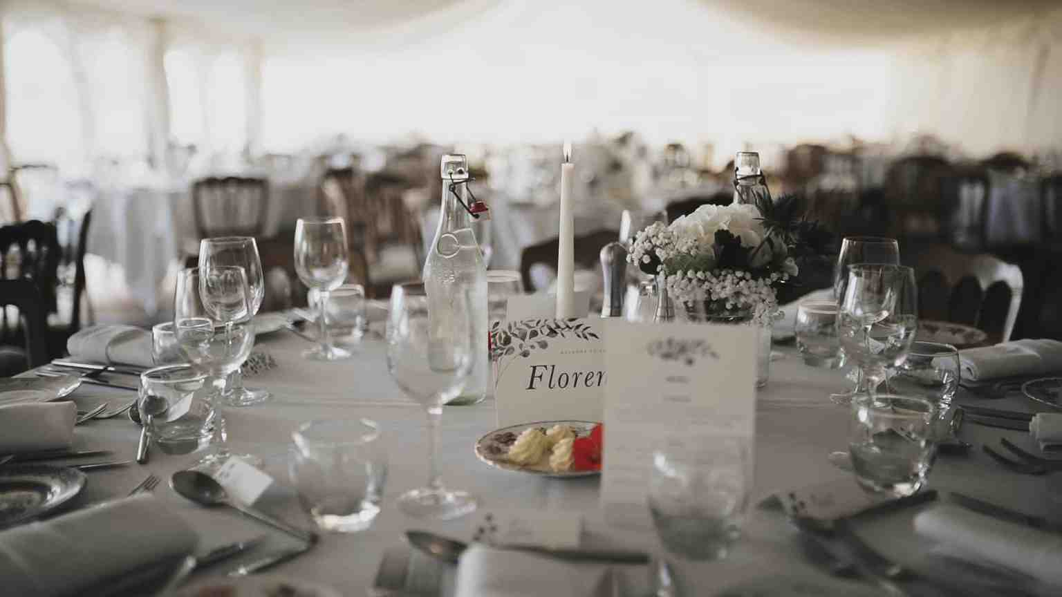 wedding decoration in dinner room