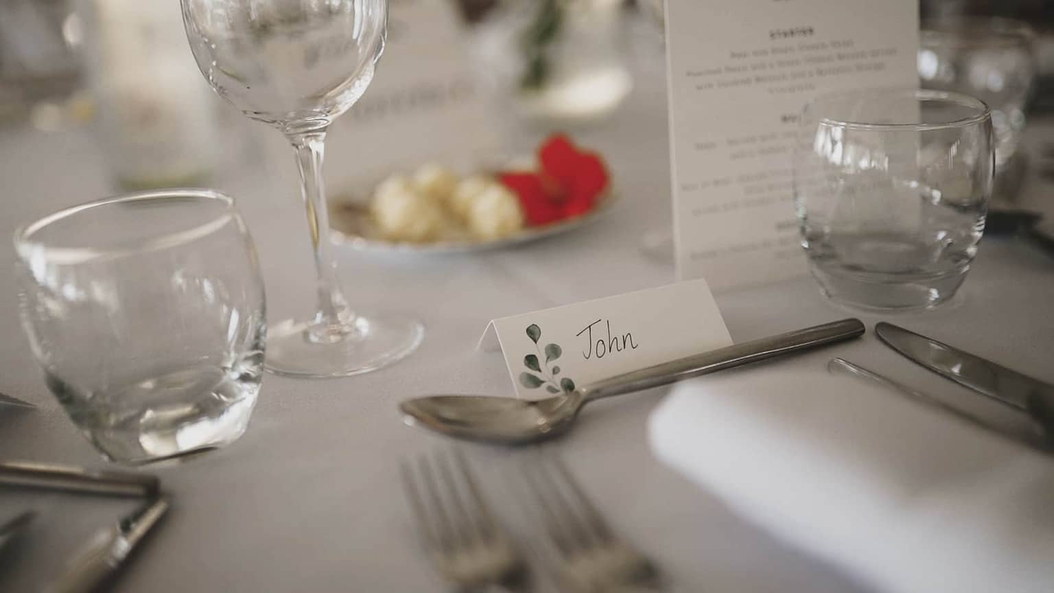 details with name tag for wedding guests.