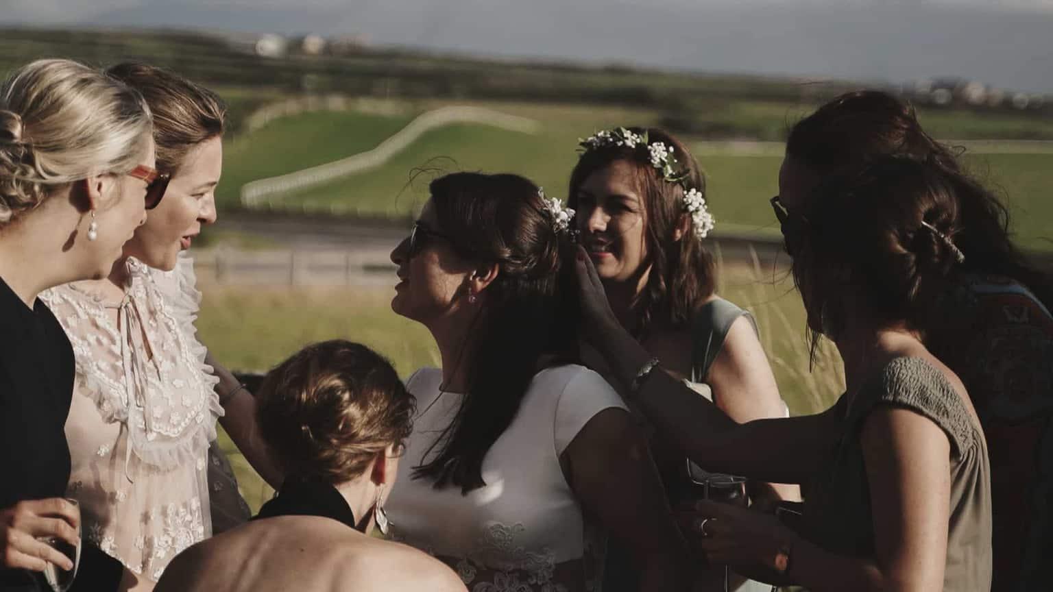 Friends admiring new Bride