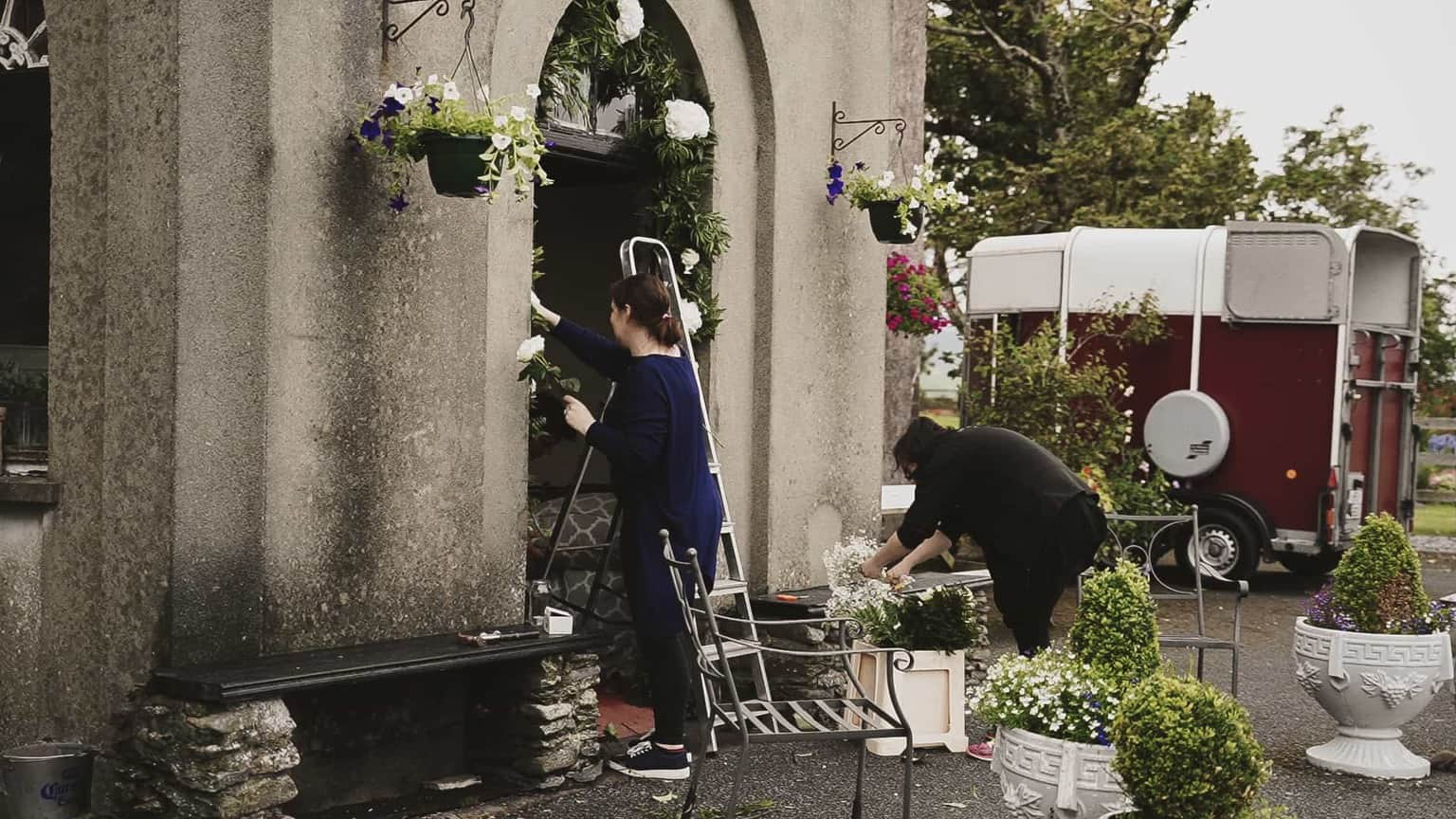 Decorating Ballintaggart house venue before wedding day