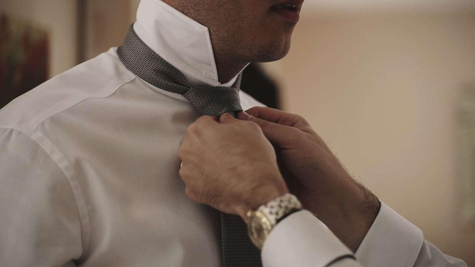 Close look at tie.