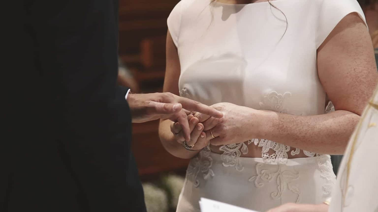Close look at hands with rings exchanging.