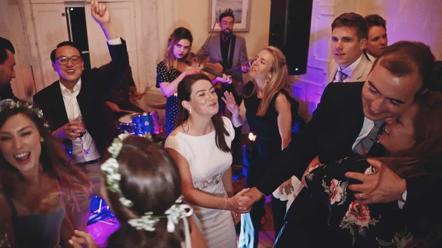 Bride and groom is dancing