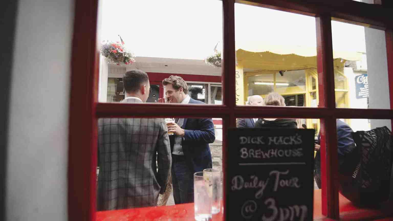 Look by window from inside of bar