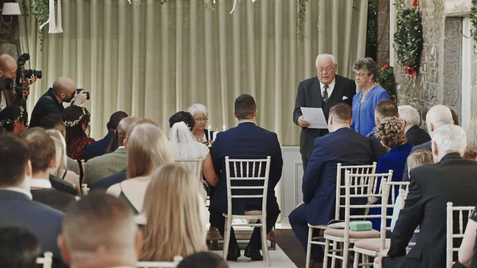 readings during wedding ceremony at conservatory