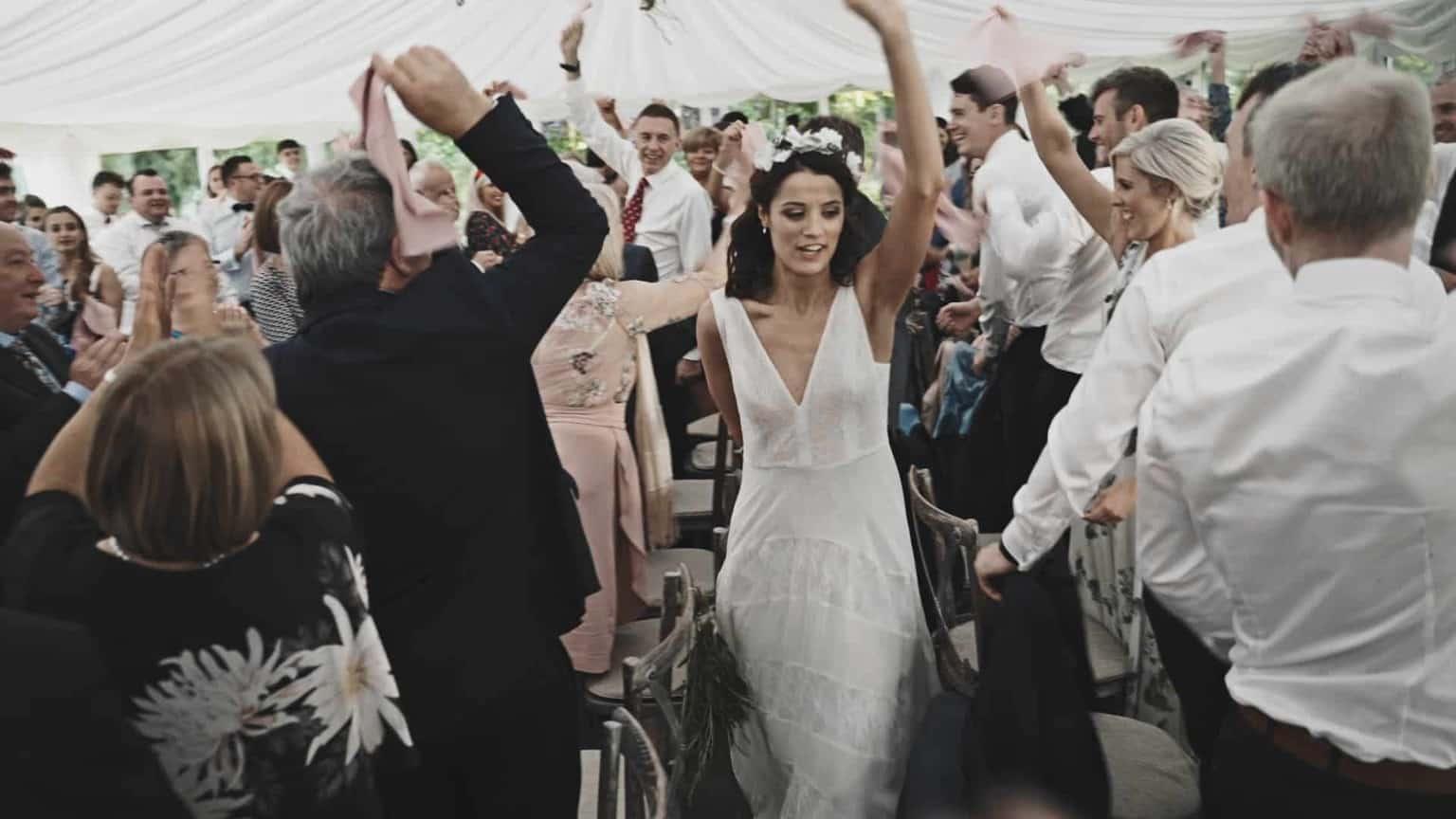 bride and groom entering marque in Cloughjordan