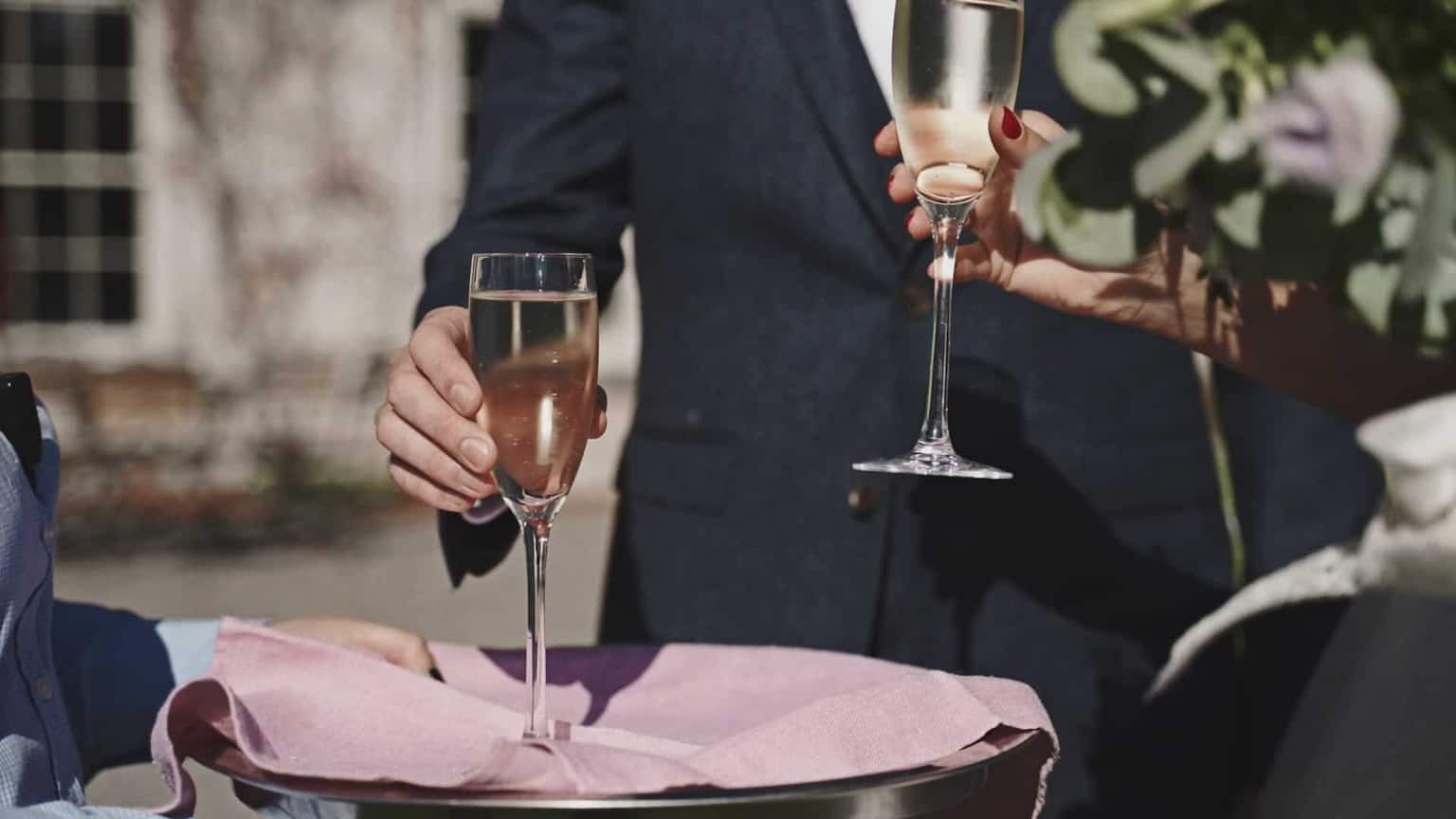two glasses of Champaign for bride and groom