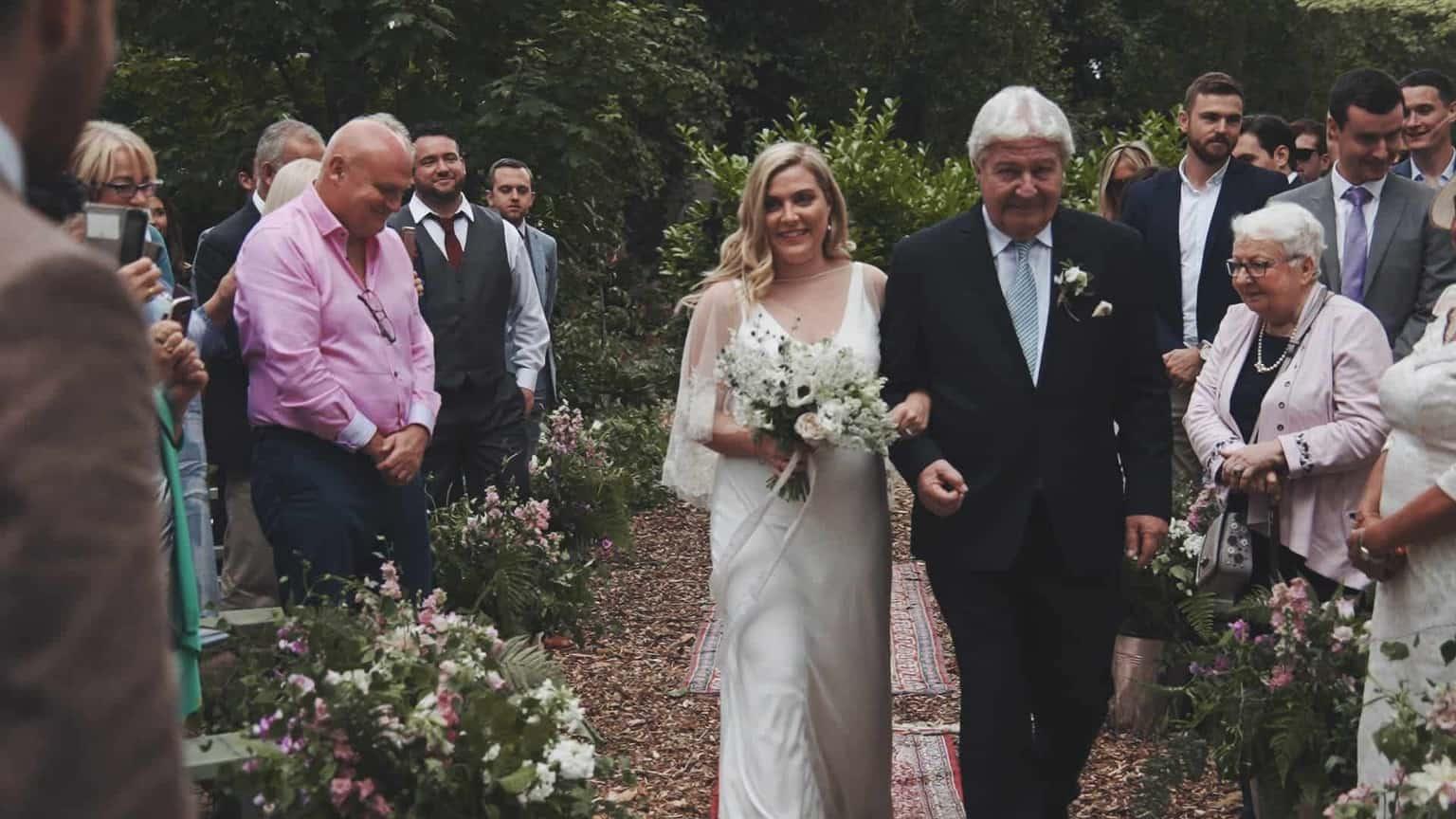 bride walking down aisle in Cloughjordan