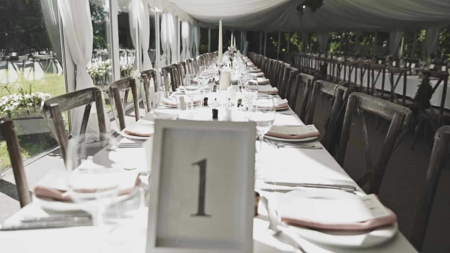 top table in marquee