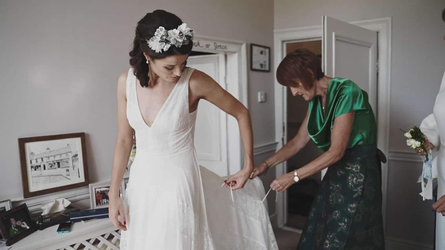 Bride is getting dressed