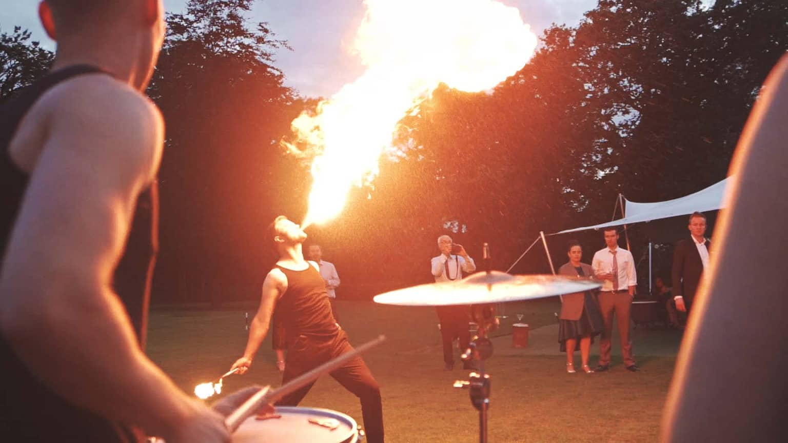 close details on fire show performance