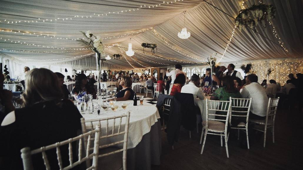Marque wedding just before entrance