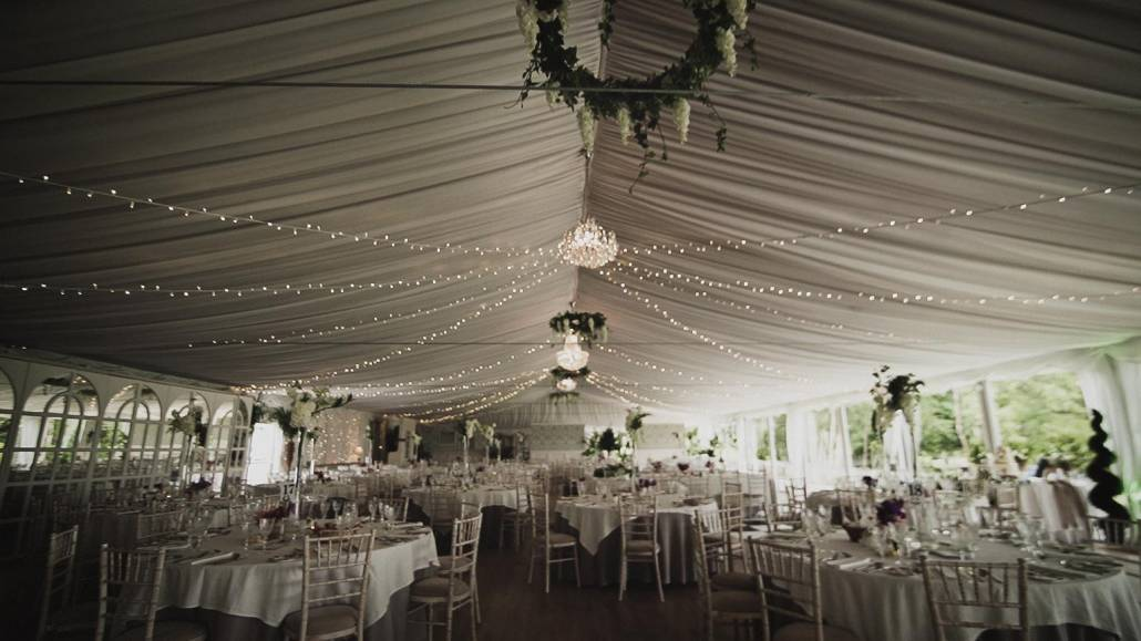 Marque decorated before wedding entrance