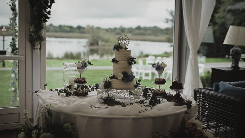wedding cake with lake view at the back