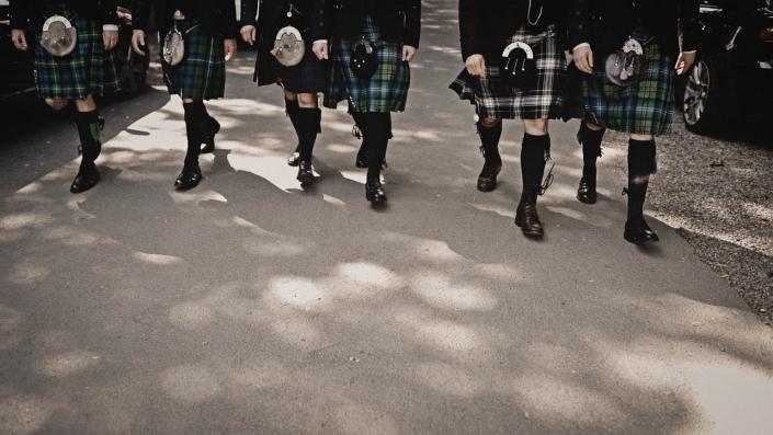 Scottish groom walking to ceremony