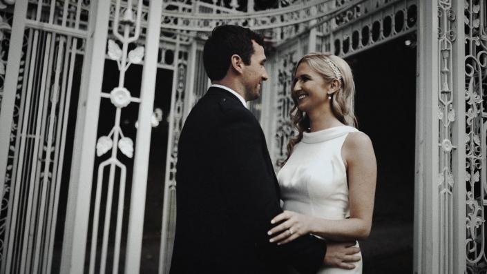 wedding picture in gazebo
