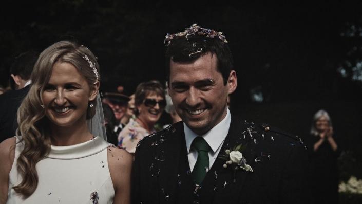 confetti is on groom head