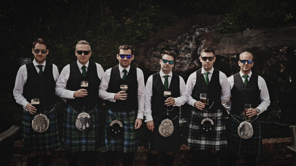 Groom with best men posing to picture