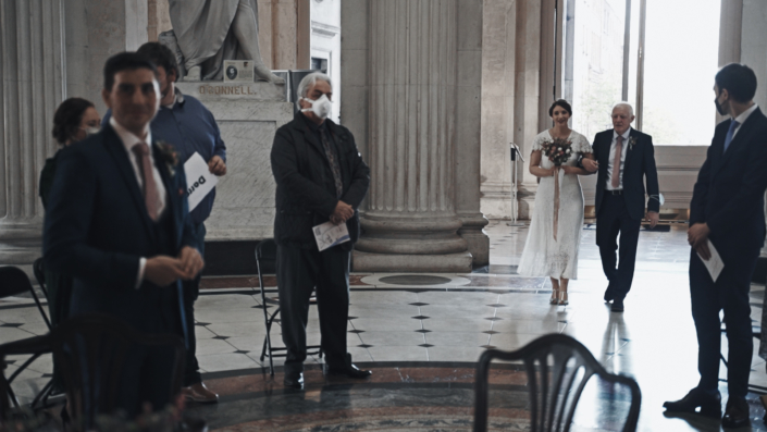 Sarah arriving at wedding ceremony