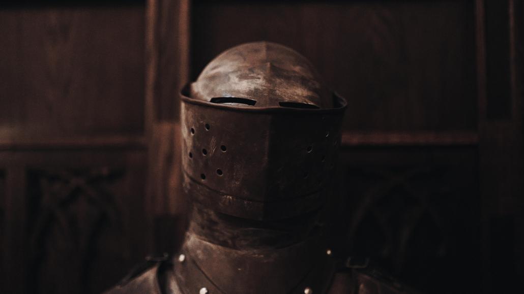 knight helmet at castle