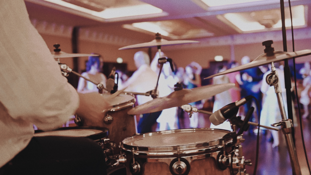 wedding band percussion with view at party.