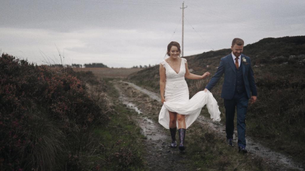 Raining weather during wedding photo session.
