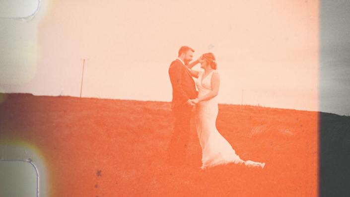 Vintage frame on Irish wedding with landscape view.