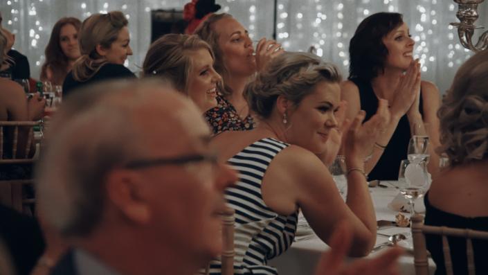 Afectet wedding guest during speeches