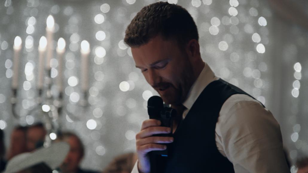 Groom is talking wedding speech