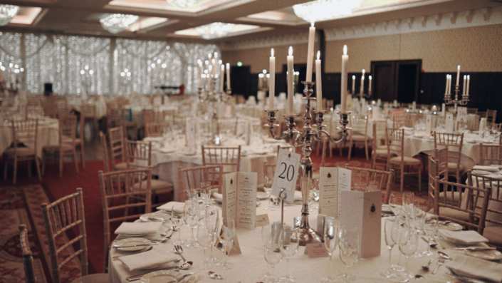 Decorated function room at Kilronan Castle