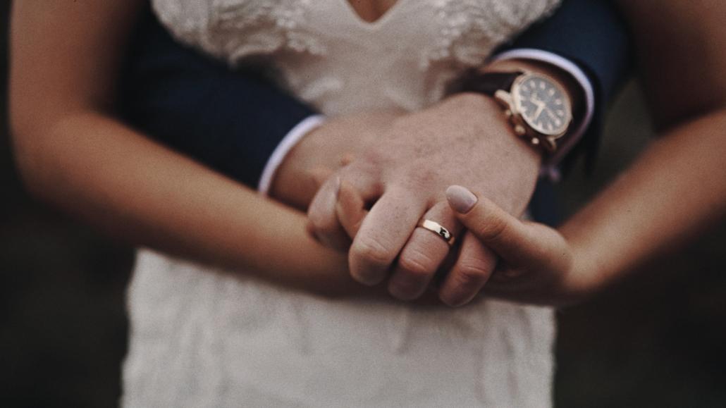 Close look at wedding ring