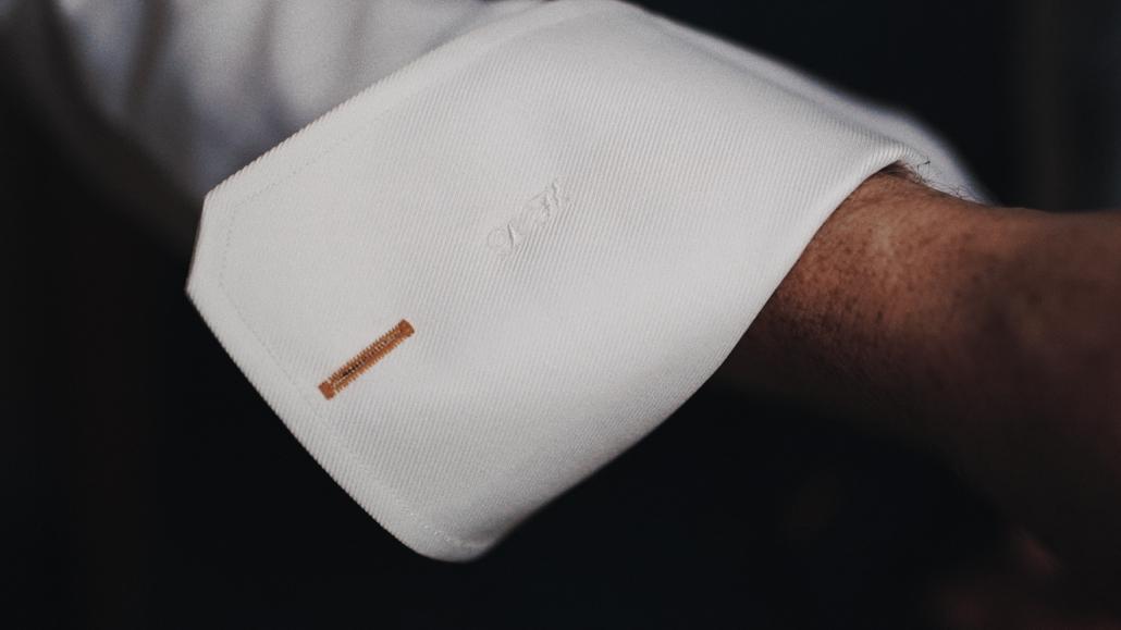 wedding initials on wedding shirt.