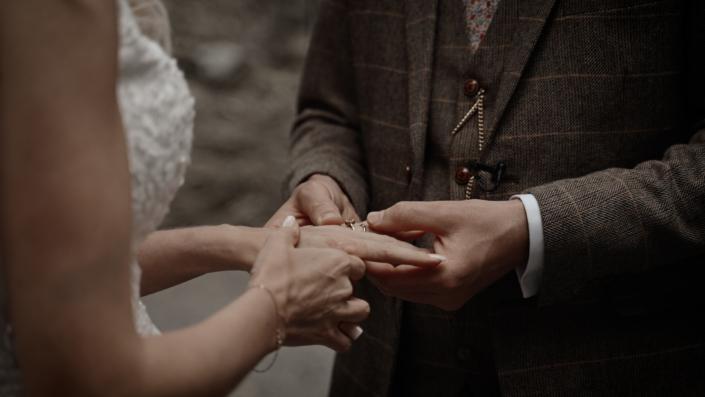 putting wedding rings