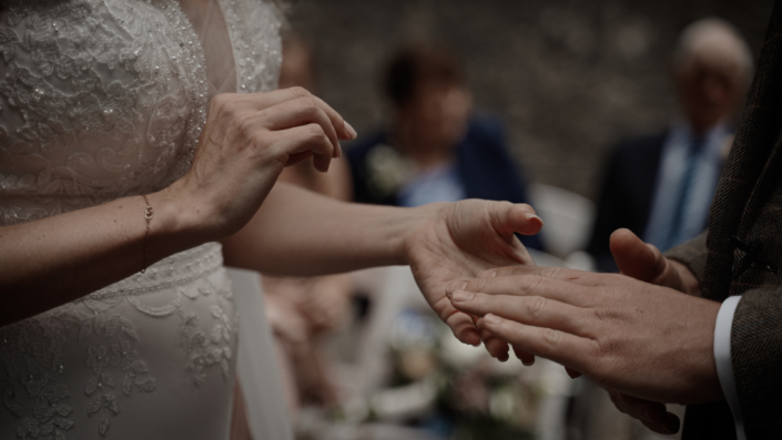 bride is putting ring