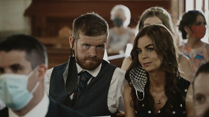 wedding guest in church