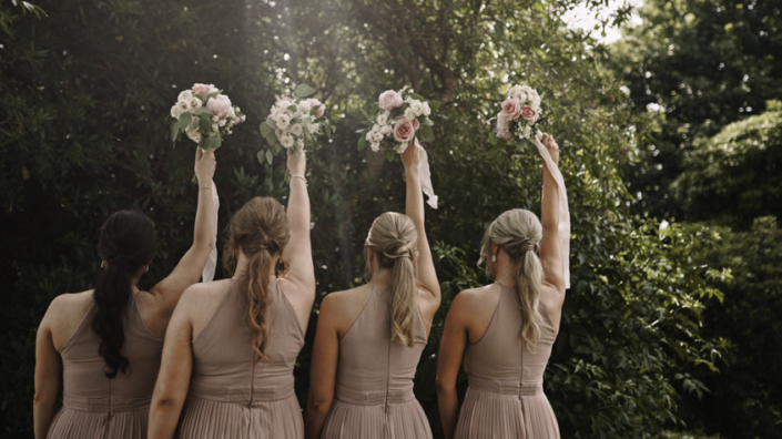 bridesmaids dresses from behind